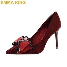 EMMA KING Elegant Crystal Bowknot  Wedding Party Shoes Ladies Pumps Slip On Fashion Women Stiletto High Heels Shoes 10cm 12cm
