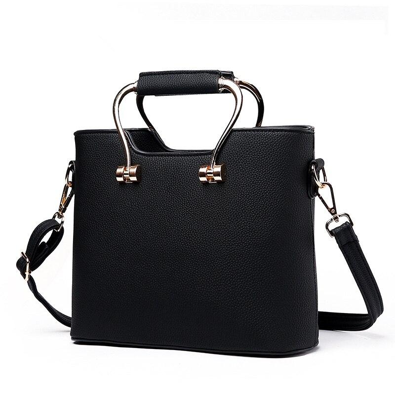 Fashion Black PU Office Lady Clutch Handbag High Quality Metal Handle Women Crossbody Tote
