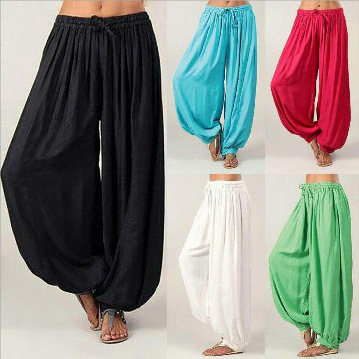 Womens Lady Hippie Aladdin  Funny Pants Gypsy Harem Trousers Elastic Baggy Harem Pants
