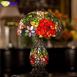 Fumat tiffany candeeiros de mesa rosa sombra de vidro manchado luz led e26 e27 casamento casa deco lâmpada de cabeceira sala estar candeeiro de mesa