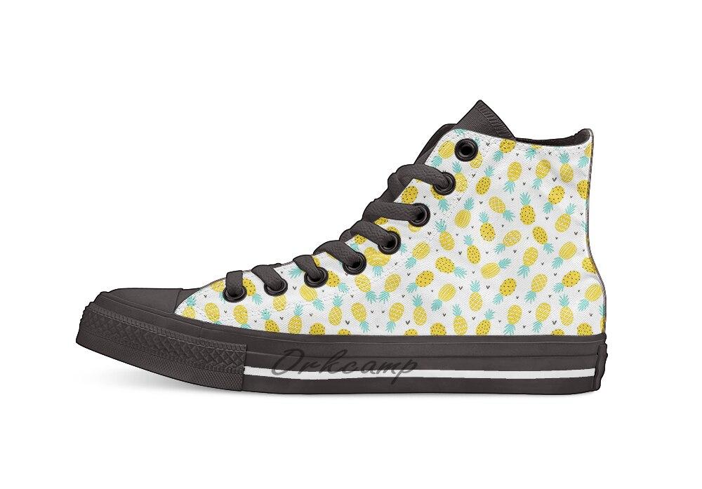 Piña y corazones Casual High Top zapatos de lona zapatillas Zapatillas de andar ligeras
