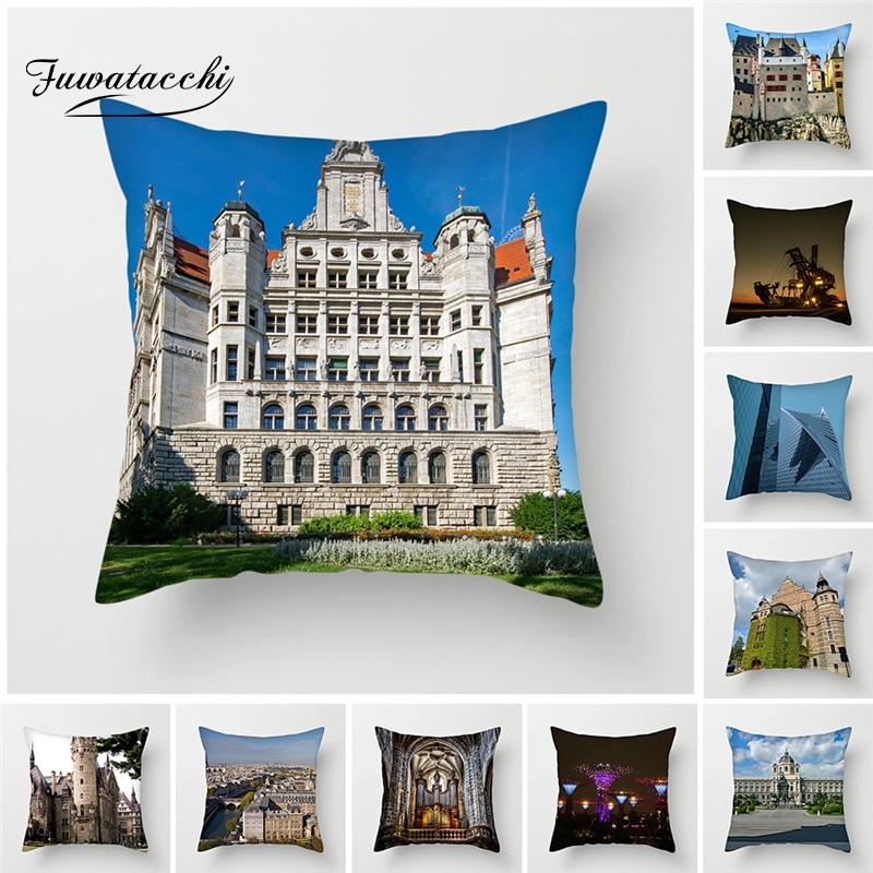 Fuwatacchi London Eye Scenic Throw Pillow Cover Famous Buildings Holland Architectural Cushion Cover Home Decorative Pillowcase