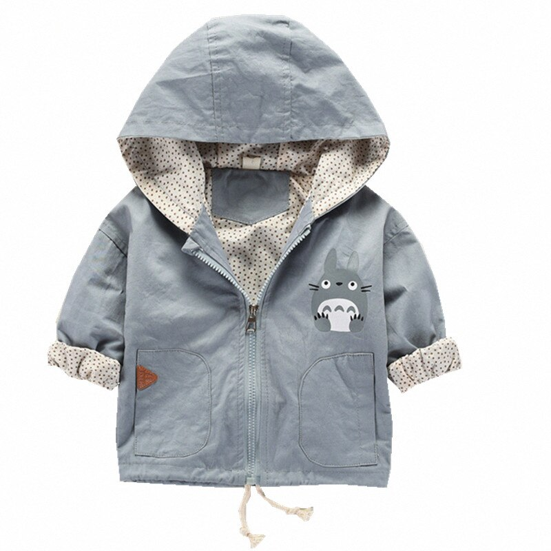 Autumn Baby Boys Hooded coat Jacket for Boys Kid Cartoon Jackets Long sleeve Totoro pattern baby girl clothes 3-24M bebes coats