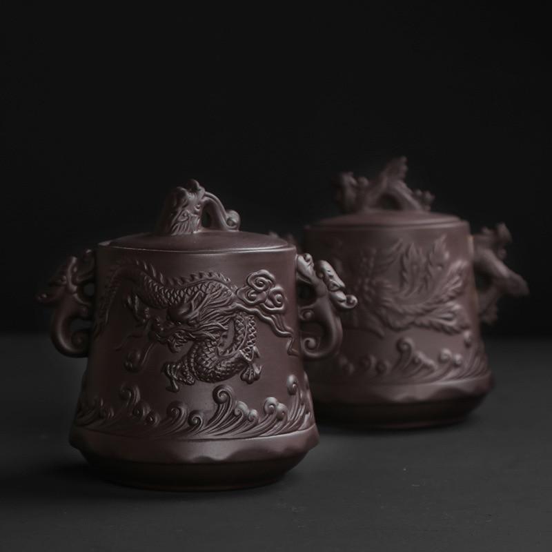 Dragón y Fénix, tetera de arena púrpura, Arena Morada Yixing Dahongpao mineral crudo hecho a mano, latas de té Puer, latas de té selladas.