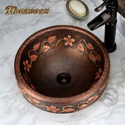 Toda a bacia de cobre palco artístico retro artesanal flor videira circular pia do banheiro