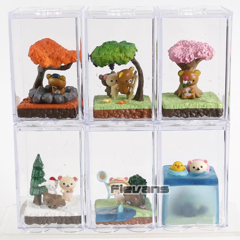 De dibujos animados oso rilakkuma temporada terrario Mini PVC figuras juguetes de modelos coleccionables 6 unids/set
