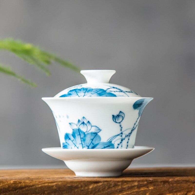 Gaiwan-طقم شاي سيراميك أبيض وأزرق ، بورسلين ، عظم صيني ، مطلي يدويًا ، طقم شاي الكونغ فو