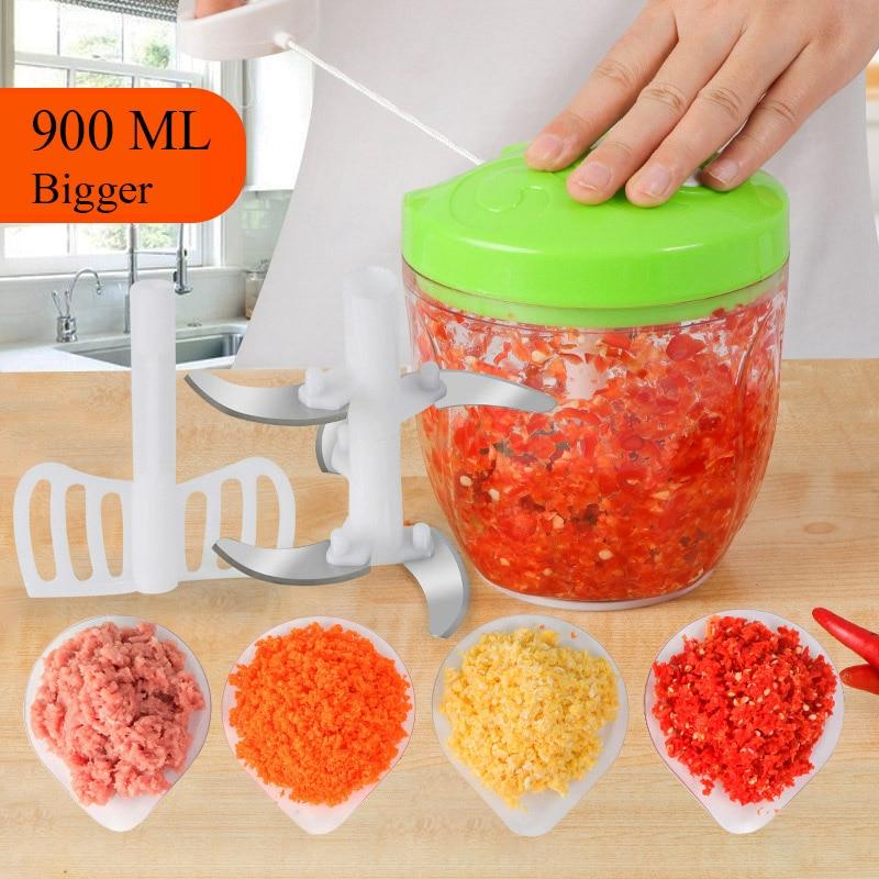900ML Multifunction High Speedy Design Vegetable Fruit Twist Shredder Manual Meat Grinder Chopper Garlic Cutter