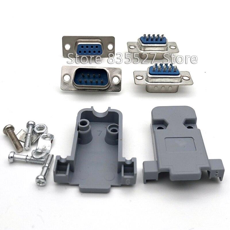 10 шт./лот RS232 DB9 DB-09 разъем последовательного порта 9pin гнездо/Папа/оболочка гнездо/разъем головки 2 ряда медь COM розетка адаптер