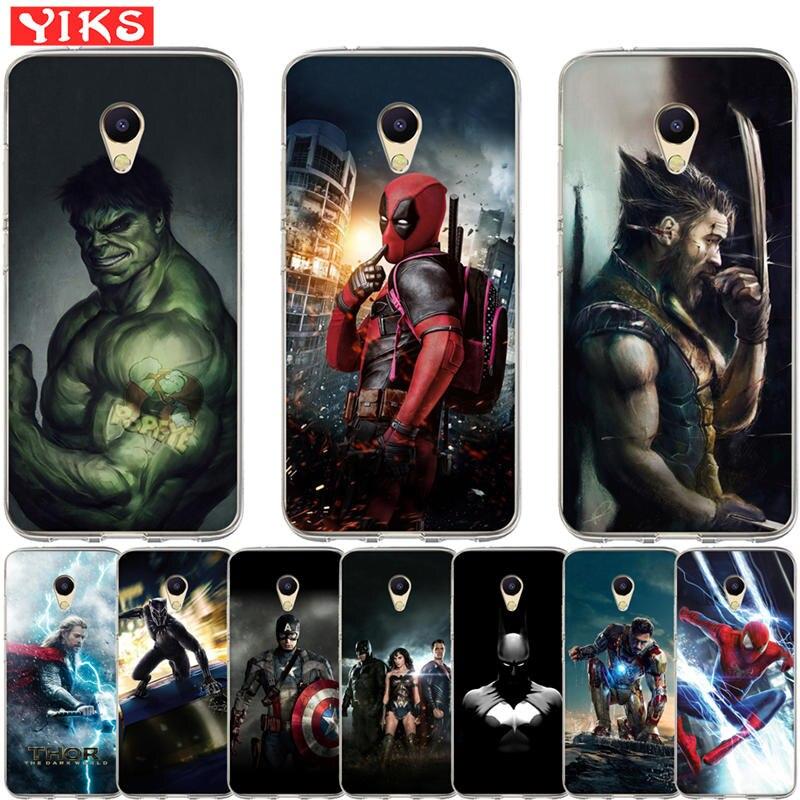Luxo marvel avengers heróis casos para meizu m5s m5c m5c m3 m5 m6 s c nota u10 u20 pro 6 capa capa caso