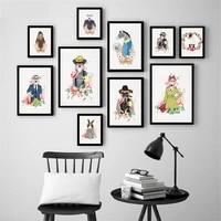 Mode Animal chien zebre fleurs mur Art imprimer mignon affiche Style nordique enfants decoration murale photo toile peinture decor a la maison