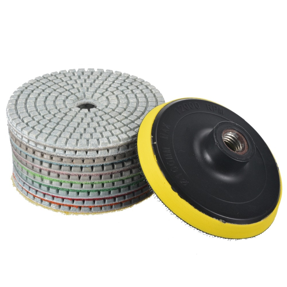 "10pcs Diamond Polish Pads 4"" M14 Polishing Wheel Set Stone Concrete Marble Polishing Pad Tools"