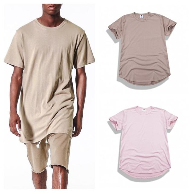 Nueva camiseta de Hip Hop con dobladillo curvo para hombre, camiseta urbana extendida de Kpop, camisetas de largo para hombre, ropa para hombre, Justin Bieber Kanye