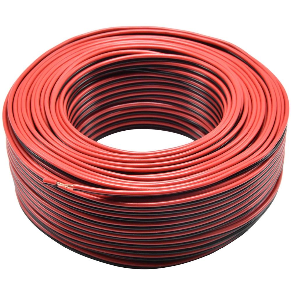 Провод для колонок 2*0,16 мм2, 2 Pin, красный, черный светодиод, провод для подключения медного аудиокабеля для автомобиля, электрические кабели д...