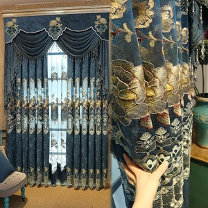 Fyfuyoufy estilo europeu upmarket chenille bordado cortina tribunal retro girado ouro bordado tule cortina sala de estar
