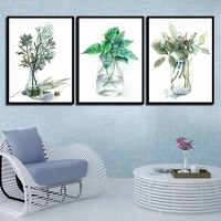 nordic minimalist glass bottle green plant leaves poster fresh canvas painting art print wall pictures living room no framed