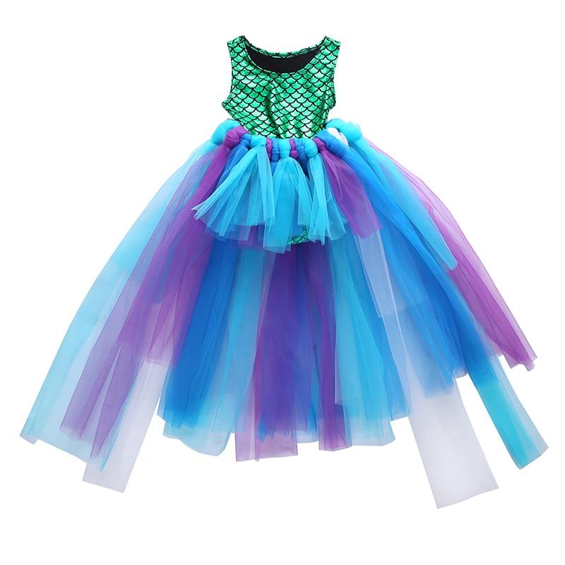 Fiesta niños bebé niña vestido camisetas de sirena Bodysuit + tul Tutu vestido de bola conjunto de trajes