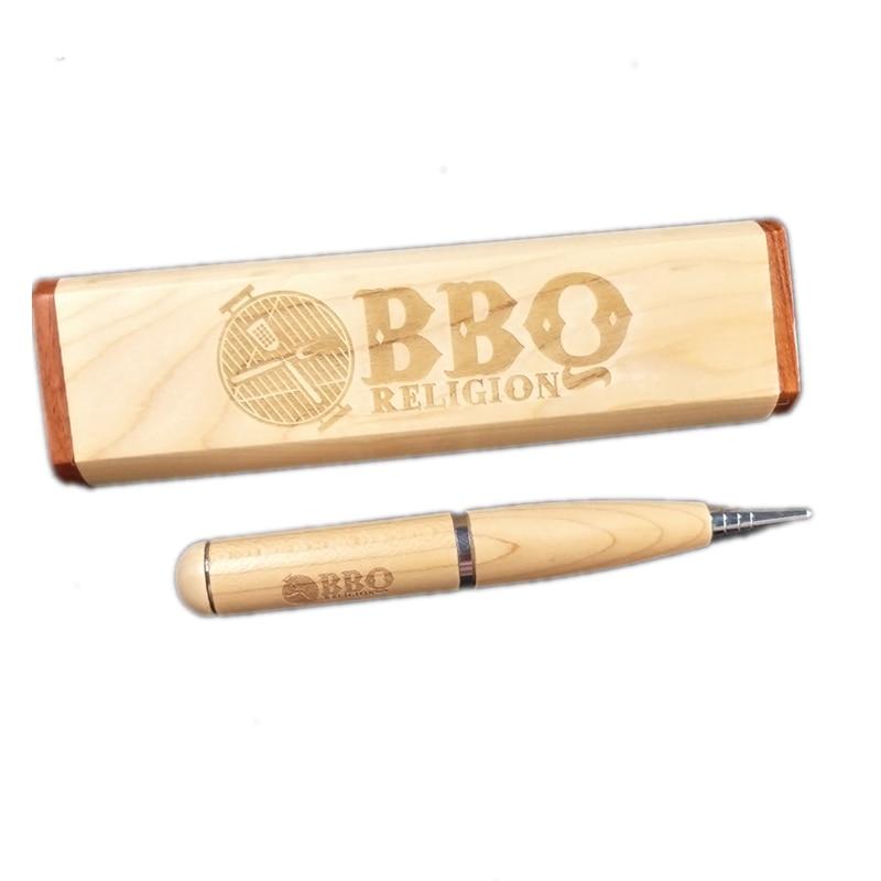 Logotipo personalizado de madera bolígrafo USB con caja de pluma elegante USB 2,0 memoria Flash Stick