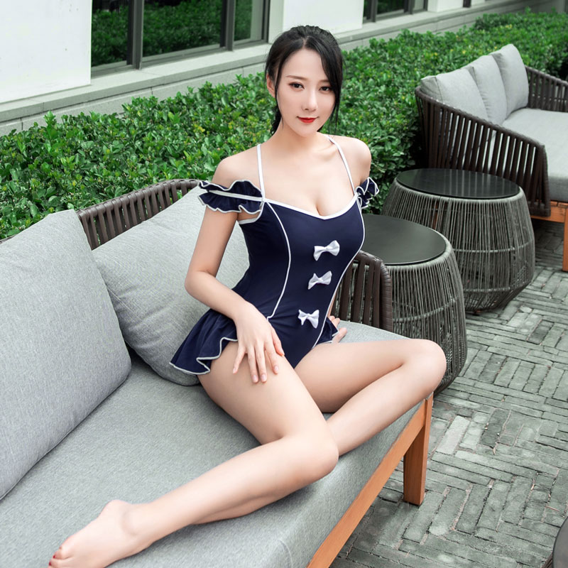 Sexy Women Ruffle Hollow Out Bodysuit One Piece Swimsuit Bandage Push Up Swimwear Women Monokini With Bow-knot F20
