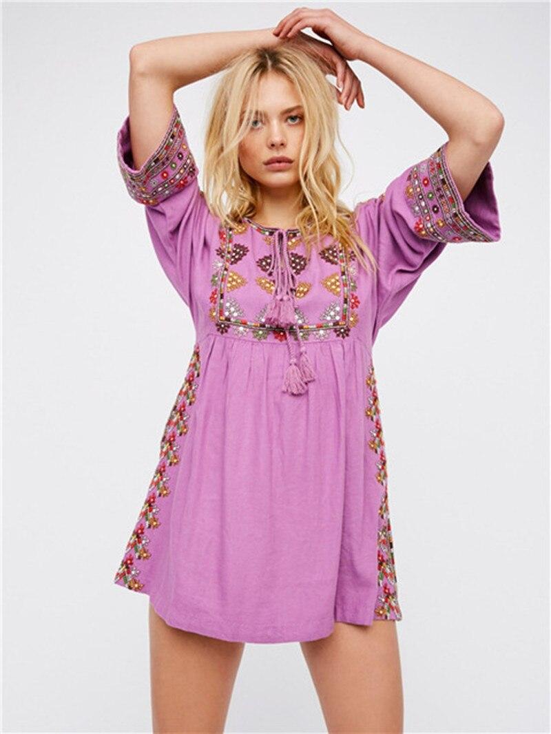 ZAWFL Vintage coton lin personnes profonde o-cou Crochet brodé robe mexicaine paysanne Hippie robe gratuit Boho vestiti