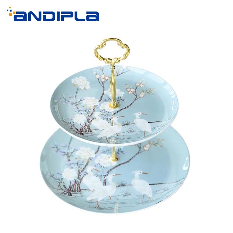 Crane Pattern Ceramic Fine Bone china Double Layer Fruit Plates Home Garden Dessert Pastry Dish Wedding Party Cake Big Saucer