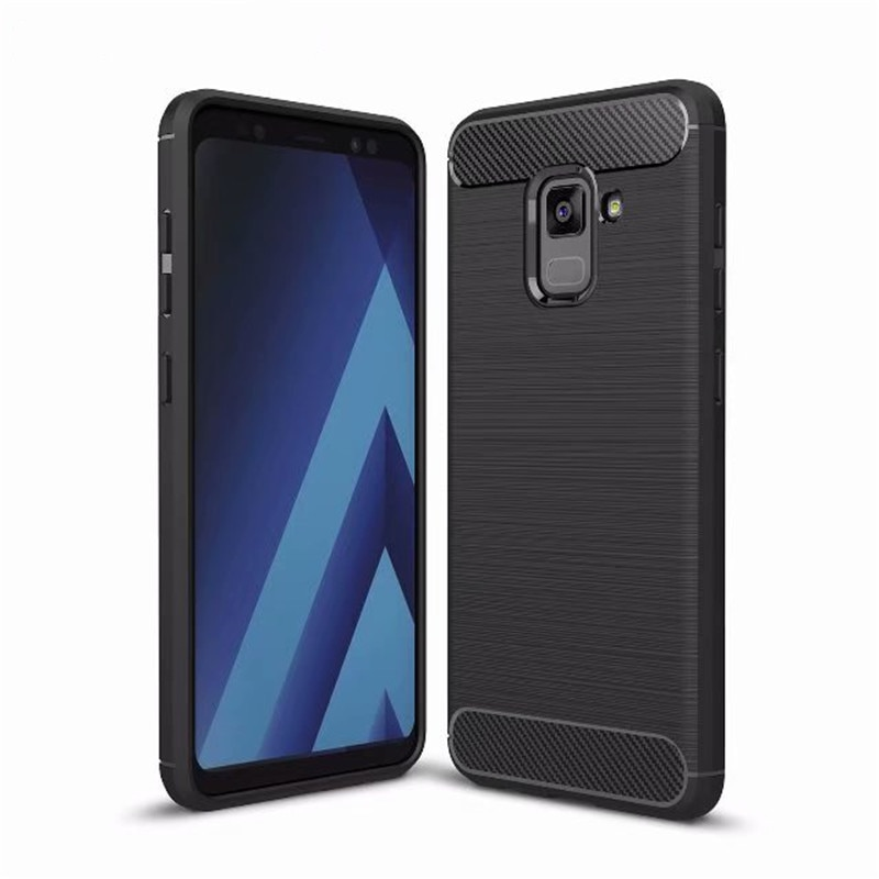 Для Samsung Galaxy A3 A5 A7 2017 роскошный мягкий силиконовый чехол для A5 A6 A7 A8 2018 матовый чехол из углеродного волокна ТПУ тяжелый противоударный чехол