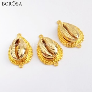 BOROSA 10PCS Wholesale Full Gold Color Natural Cowrie Shell Connectors Accessories for Bracelet/Earrings Jewelry G1735
