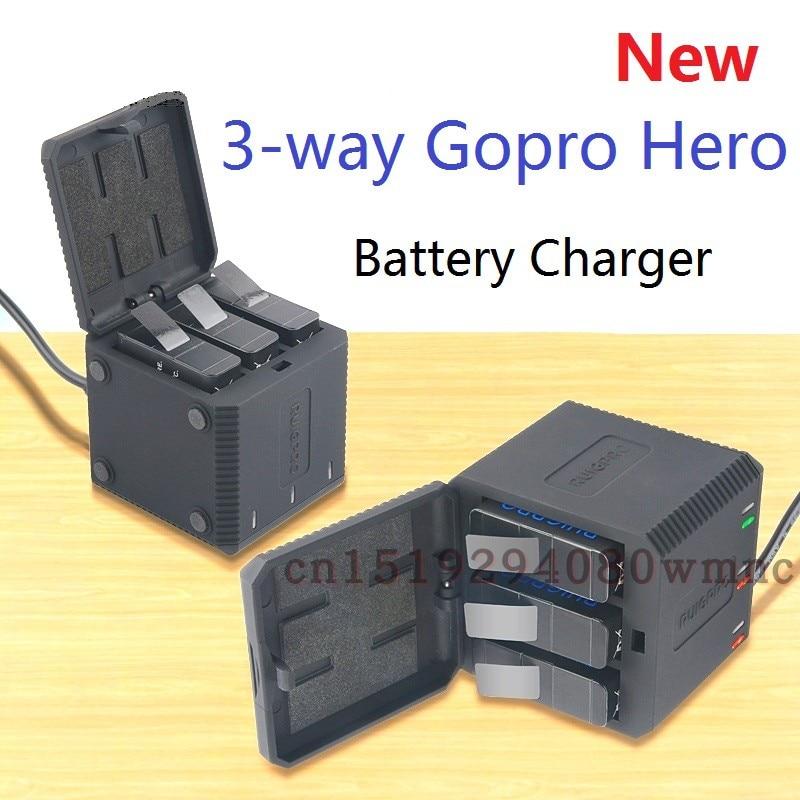 Cargador de batería de 3 vías LED caja de carga funda de transporte de batería para GoPro Hero 5 6 7 8 Black Hero 6 5 accesorios funda de batería