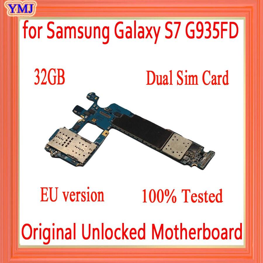 Para Samsung Galaxy S7 edge G935FD placa base 32G tarjeta Sim Dual, versión Original desbloqueada de la UE para Galaxy S7 G935FD placa base