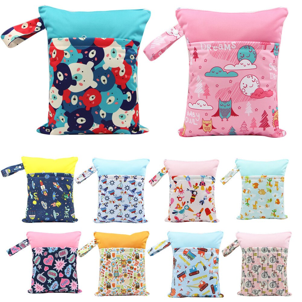 Bolsas de pañales para bebé, bolsa húmeda/seca con doble cremallera impresa, impermeable, bolsa de tela húmeda, mochila para pañales, cubierta reutilizable para pañales, bolsa de neopreno