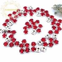 3mm 4mm 5mm 6mm 7mm 8mm red diamond shape glass crystal rhinestones with silvery claw diy wedding dress accessories