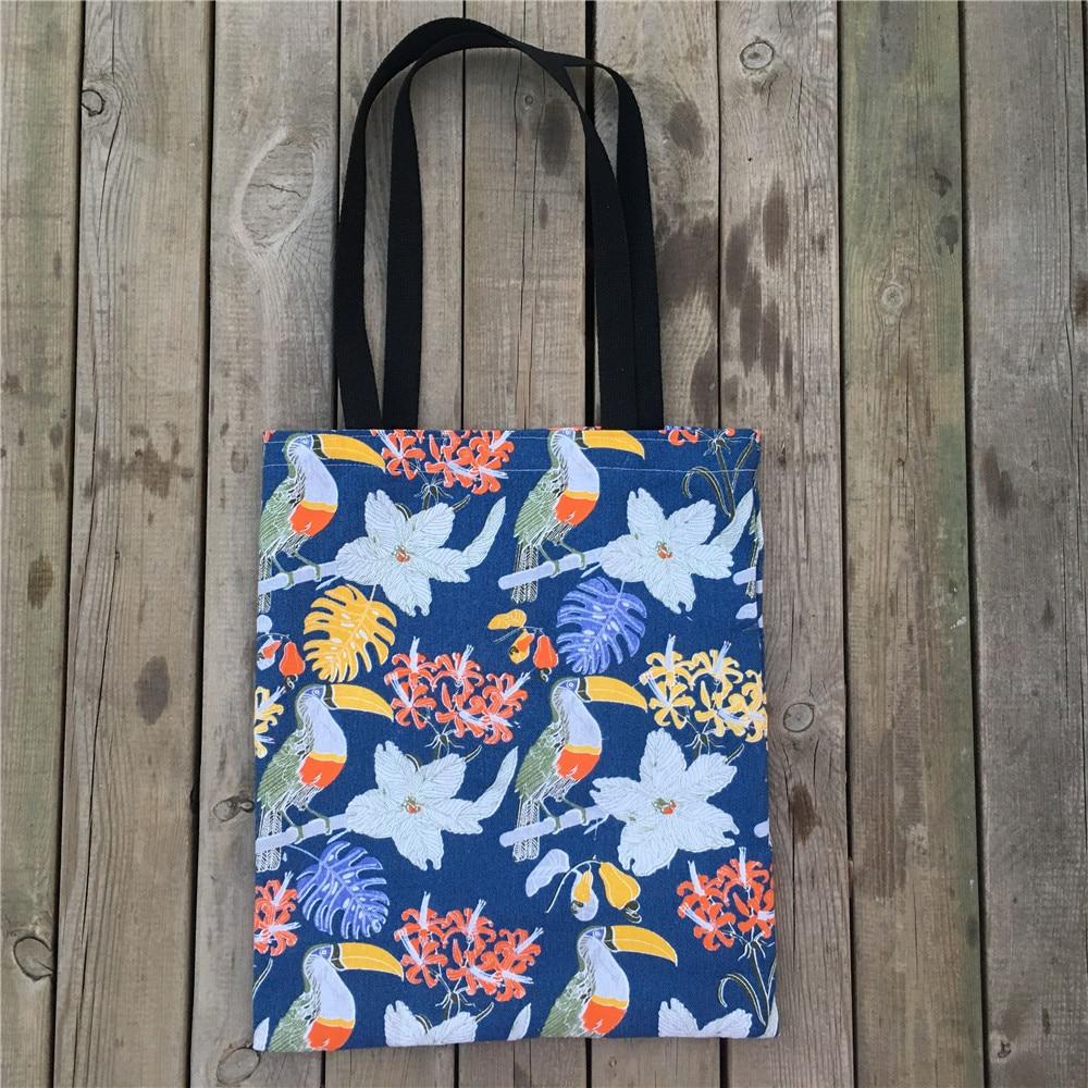 YILE Eco Casual Shopping Tote Cotton Linen Shoulder Bag Print Vintage Navy Blue Flower New L514