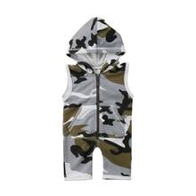 Bebê recém-nascido roupas da menina do menino engraçado com capuz macacão de algodão macacão camo sem mangas playsuit roupa do bebê meninos 0-24 m