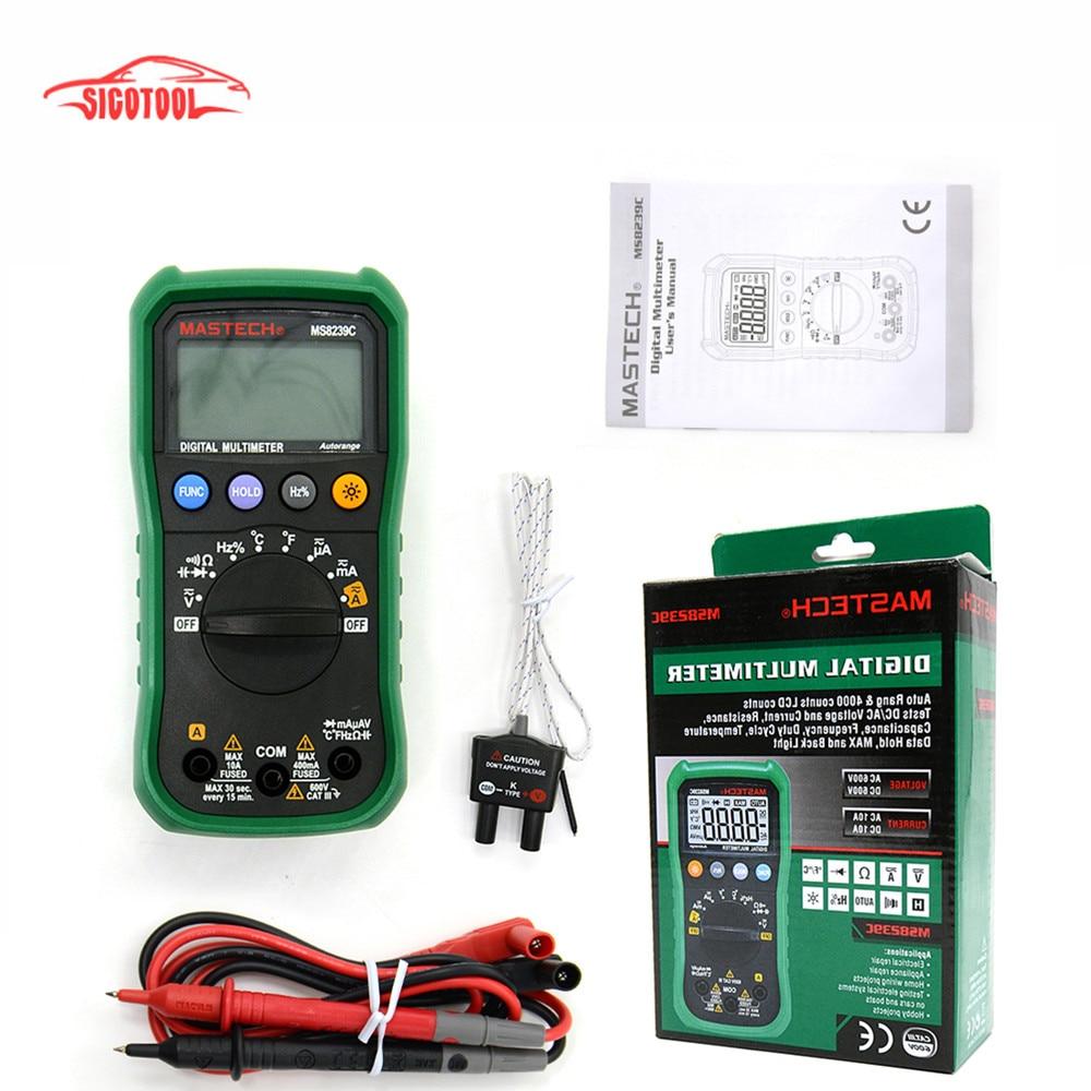 Auto range Handheld 3 3/4 Digital Multimeter Mastech MS8239C AC DC Voltage Current Capacitance Frequency Temperature Tester