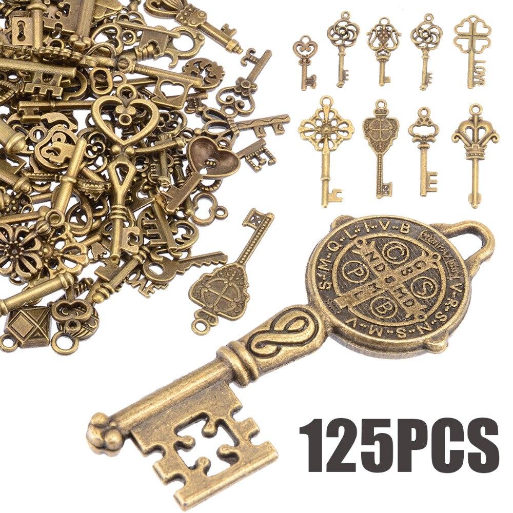 125 шт./компл., оригинальная винтажная подвеска в виде бронзовых скелетов и ключей, в виде сердца, в виде банта, ожерелье, подвесное украшение, в старом стиле, для рукоделия, в стиле ретро