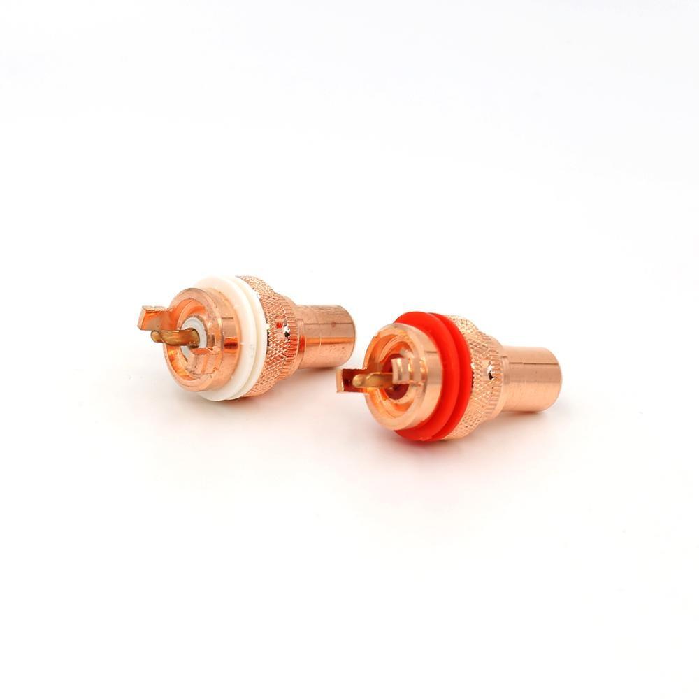 موصل RCA لمكبر صوت مشغل الأقراص المدمجة, نحاسي أحمر عالي الجودة غير لحام