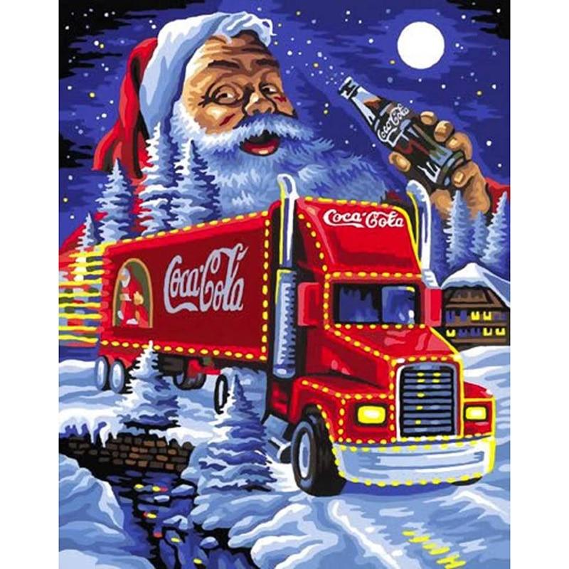 Pintura de diamantes de Santa Claus 5D DIY cuadrado completo/taladro redondo bordado de diamantes punto de cruz Coca-Cola coche 3D pintura de mosaico