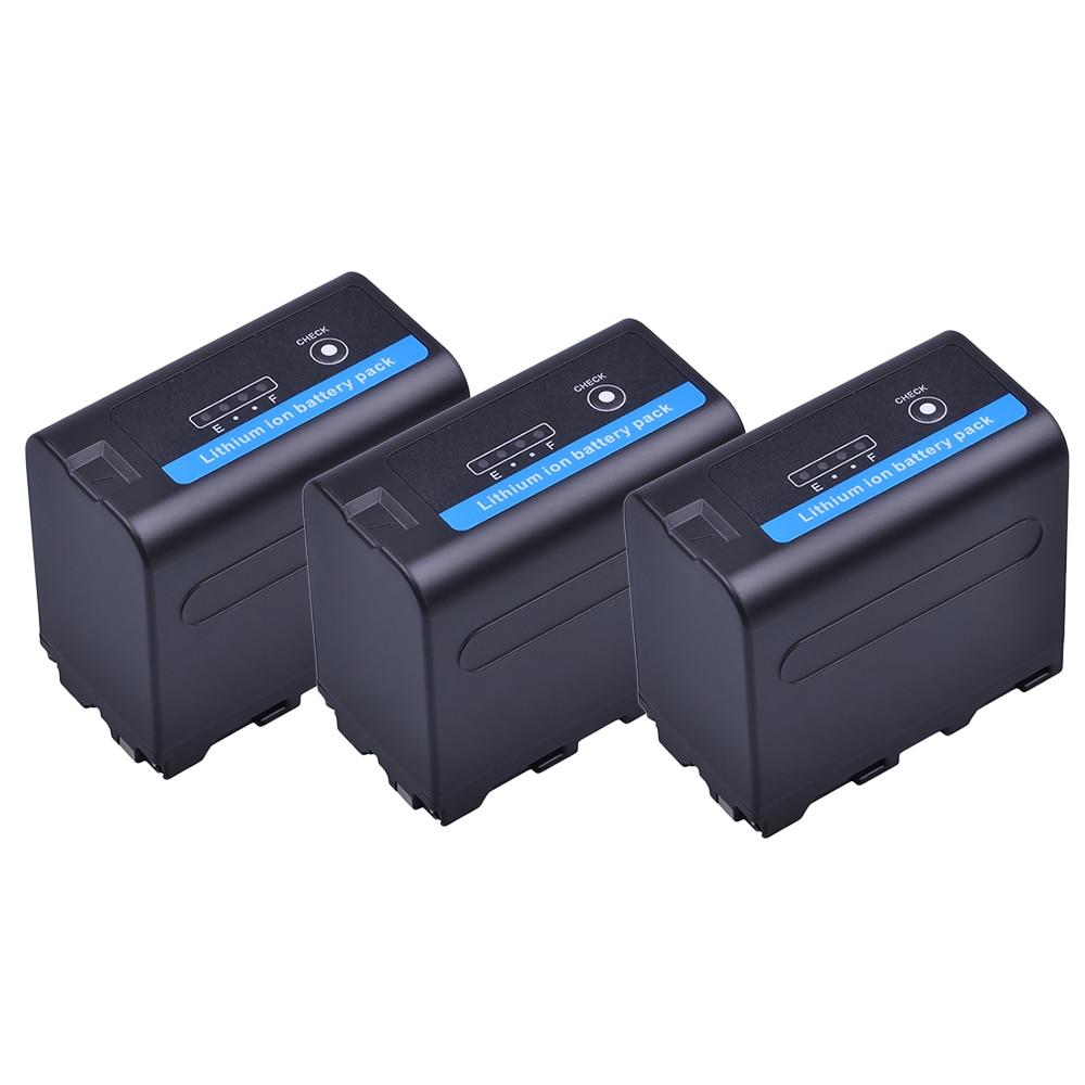 3 шт. 7,2 В 7200 мАч NP F960 F970 камера Литий-ионная батарея со светодиодным индикатором питания для Sony NP-F550 NP-F770 F960 F970 Accu