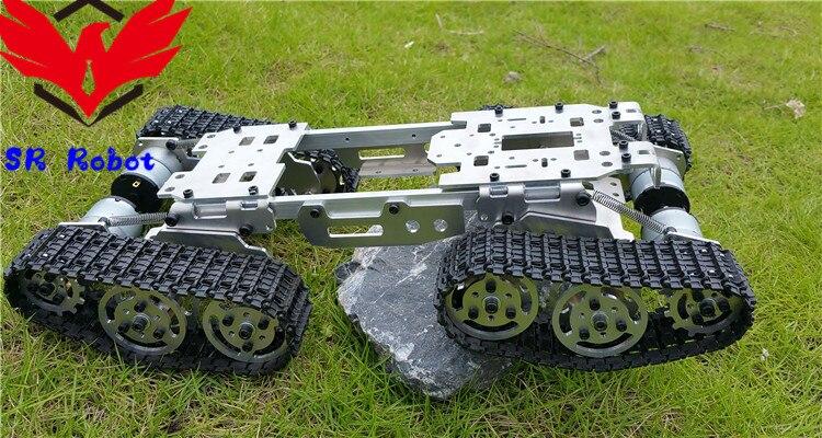 4WD metalu inteligentny cysterna podwozie z 4 silniki Caterpillar DIY śledzone gąsienicowe Roboitic Model Mobile platforma wspinaczkowa RC zdalnego