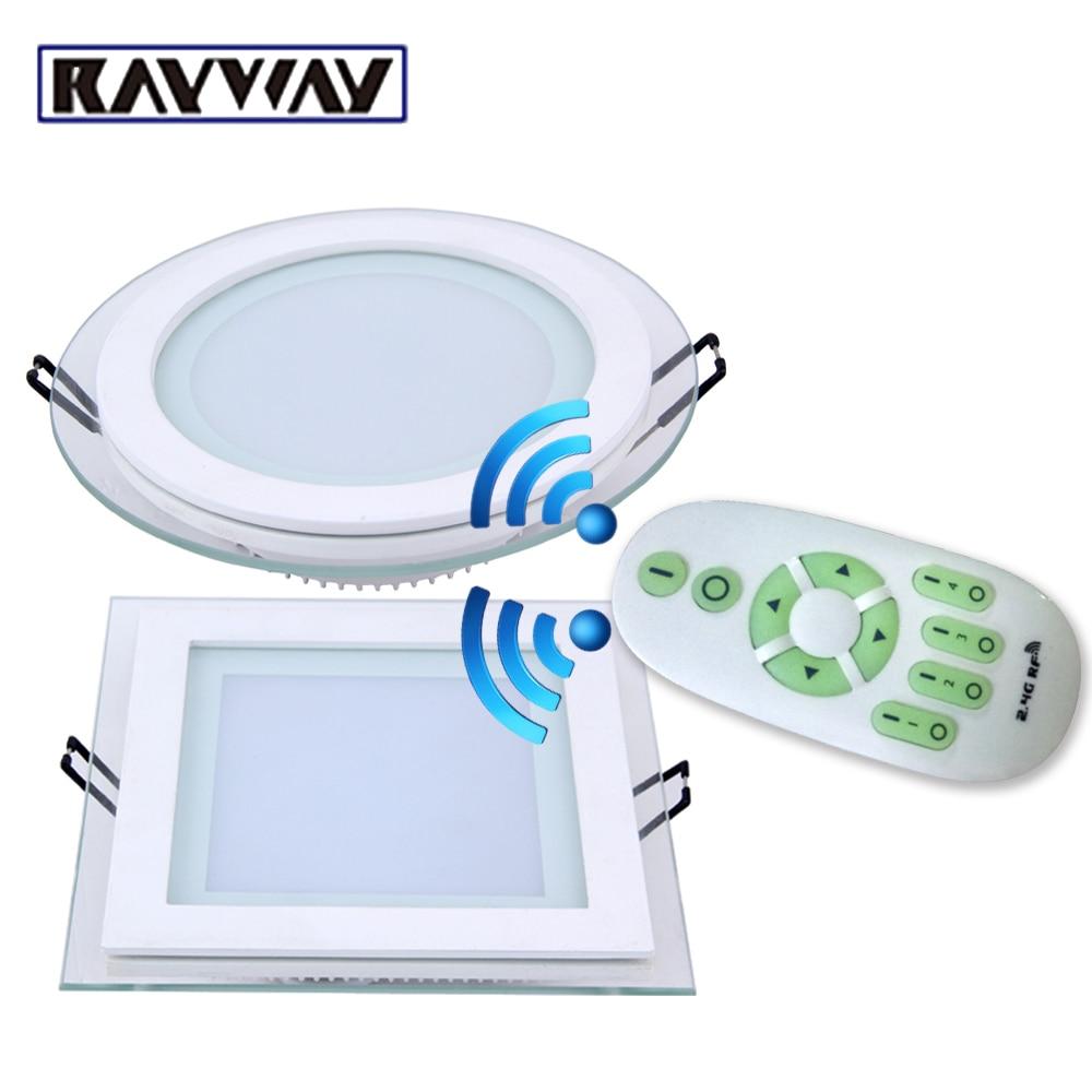 6W 12W 18W dimmable Panel de techo de luz LED 2,4G control remoto inalámbrico empotrado Panel de luz LED Spot luz de techo abajo