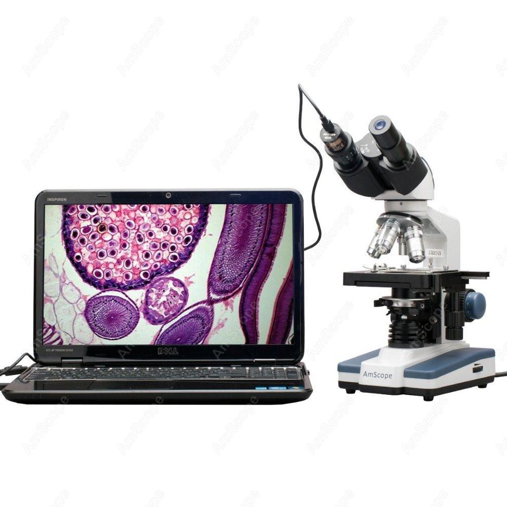 مجهر المجهر المركب-AmScope 40X-2500X LED الرقمية مجهر المجهر المركب مع 3D المرحلة + USB كاميرا B120C-E