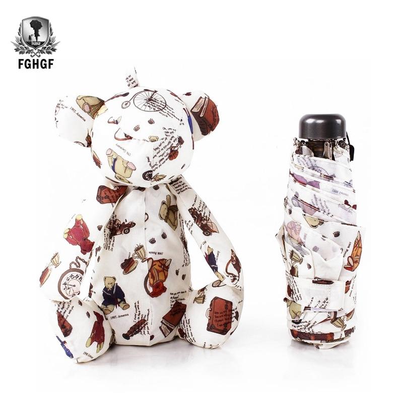 Fghgf bonito pequeno dos desenhos animados luz criativa 5 bolsos dobrável guarda-chuva crianças brinquedos chuva feminino bonito grade pouco urso praia guarda-sol