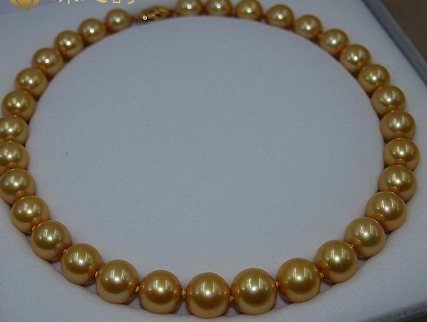18genuine AAA 11-12mm mar del sur de oro perla 14 broche de oro