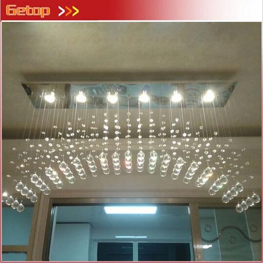 Современные K9 Хрустальная люстра, изогнутый прямоугольник, потолочный светильник, светодиодный светильник, осветительный брусок, кристалл...