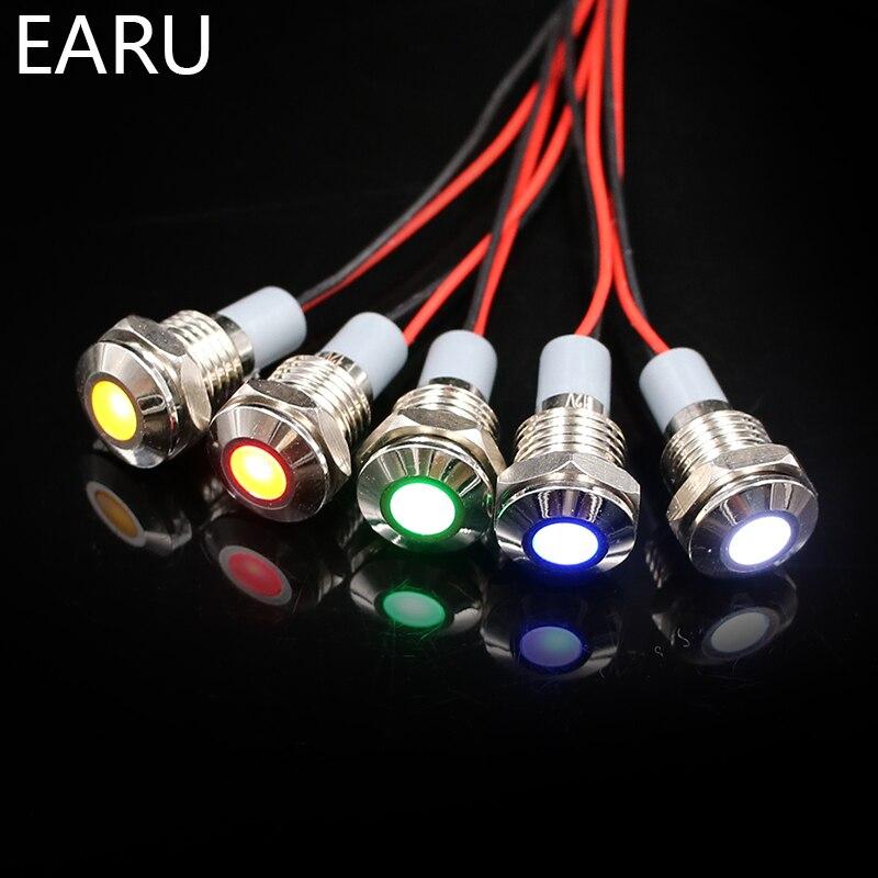 10mm impermeable IP67 LED Metal Indicador de advertencia luz señal piloto + cable 3V 5V 6V 12V 24V 110V 220v rojo amarillo azul verde