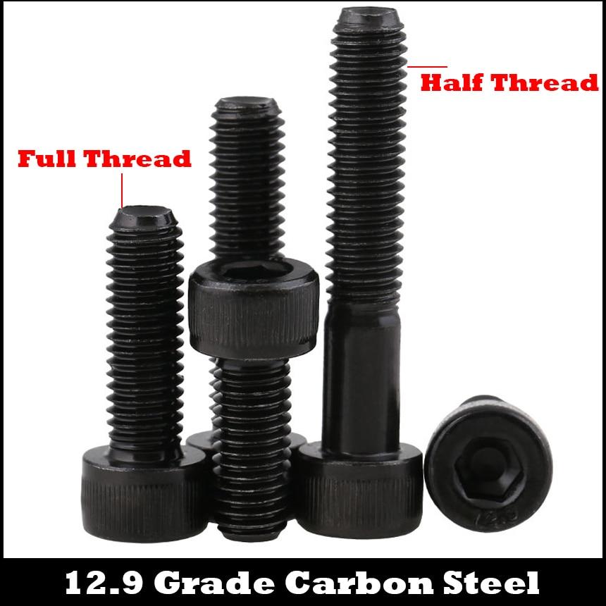 M3 m3 * 30/35/40/45/50 m3x30/35/40/45/50 12.9 grau de aço carbono meia linha din912 tampa copo allen cabeça parafuso sextavado soquete parafuso