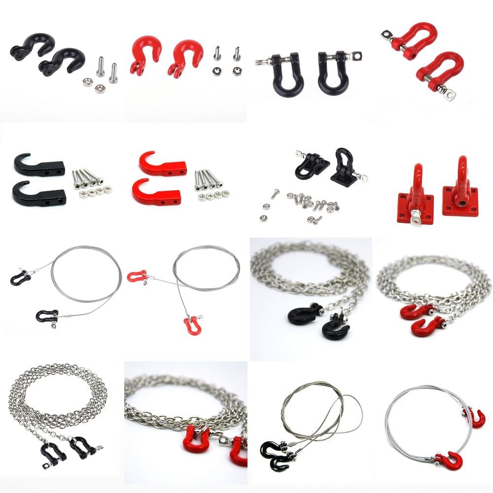 1/10 Shackle Bracket Trailer Hook Wire Tow Chain Rock for Crawler Traxxas TRX-4 Axial SCX10 90046 D90 TF2 Tamiya CC01