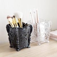 Creative retro cosmetics storage box desktop makeup brush skin care daily debris organizer plastic dressing table storage box