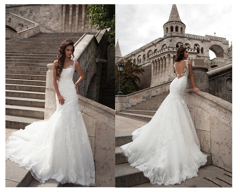 Купить с кэшбэком LORIE  Mermaid Wedding Dress See Through Back 2019 Vestidos de novia Vintage Sexy Scoop Neck Bride Dresses Floor length