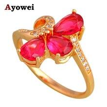 Boucles en zircone Rose or Design   Cadeau danniversaire, bijoux cristal à la mode, bagues délicates USA sz #5.5 #6 #7 #7.5 #8.5 #10 JR2132A
